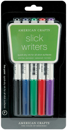 American Crafts Slick Writer Marker Pens 5/Pkg - Fine Point-Black/Blue/Red/Green/Purple