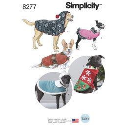Simplicity Fleece Dog Coats and Hats in Three Sizes 8277 - Paper Pattern, Size A (S-M-L)
