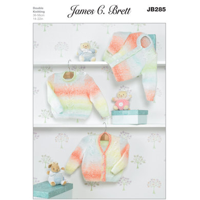 Cardigan and Sweater in James C Brett Baby Marble DK - JB285