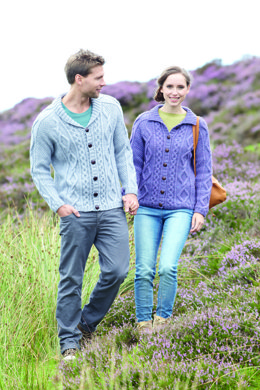 Flat Collar & Shawl Collar Cardigans in Hayfield Aran with Wool - 7065