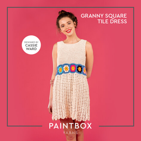 Granny Square Tile Dress - Free Dress Crochet Pattern For Women in Paintbox Yarns Cotton 4ply by Paintbox Yarns