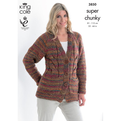 Cardigan and Top in King Cole Super Chunky - 3850