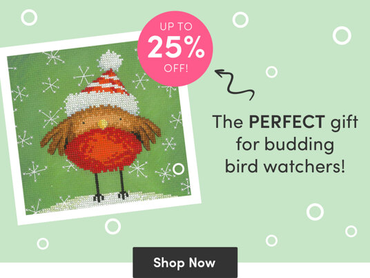 Up to 25 percent off bird cross stitch kits!