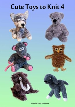 Cute Toys to Knit 4 - Huskey dog, bear, rat, owl, woolly mammoth, lamb