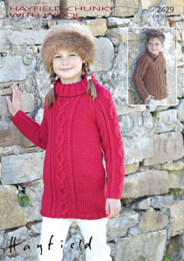Sweater and Sweater Dress in Hayfield Chunky with Wool - 2429 - Downloadable PDF
