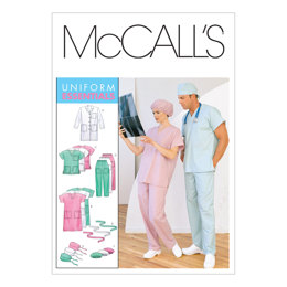 McCall's Misses'/Men's Lab Coat, Dress, Top, Pull-On Pants, Hats and Tie Belt M6107 - Sewing Pattern
