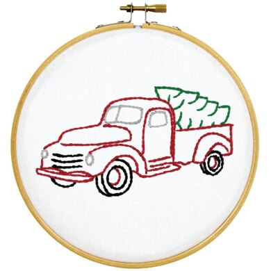 Jack Dempsey Stamped Hoop Kits - Christmas Truck - 6in