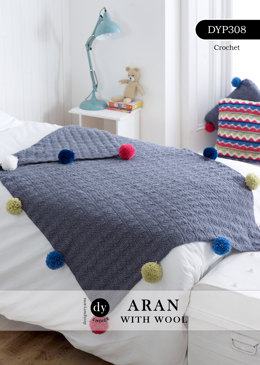 Chevron Pom-Pom Blanket in DY Choice Aran With Wool - DYP308
