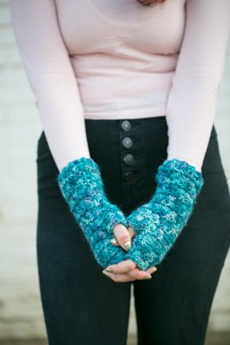 Deep Water fingerless mittens