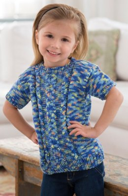 Girl's Knit Cable Sweater in Red Heart Gumdrop - LW3983