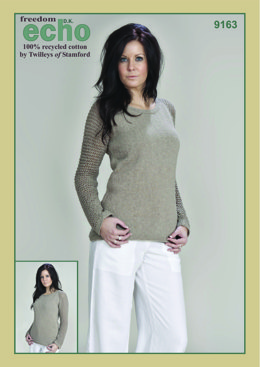 Knitted Mesh Sleeves Sweater in Twilleys Freedom Echo DK - 9163