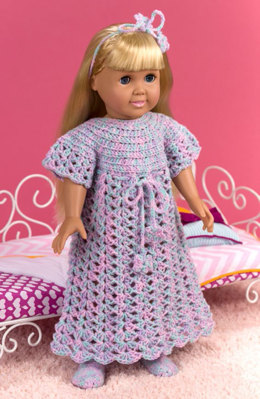 Bedtime Nightgown for Dolls in Red Heart Anne Geddes Baby - LW4759 - Downloadable PDF
