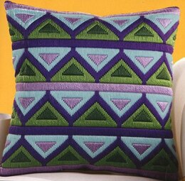 Vervaco Green and Purple Triangles Long Stitch Cushion Front
