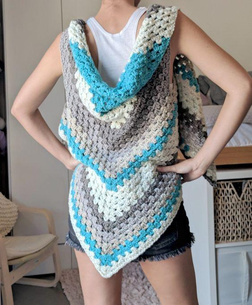 Caron Cakes Triangle Shawl Vest Crochet Pattern By