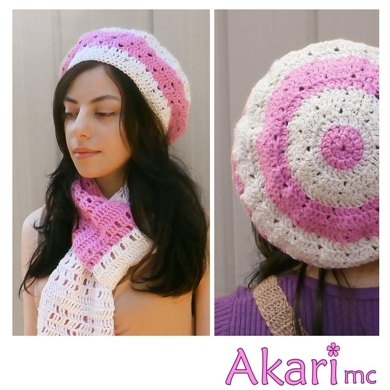 "Crochet beret ""Diana"" in two colors_ L04"