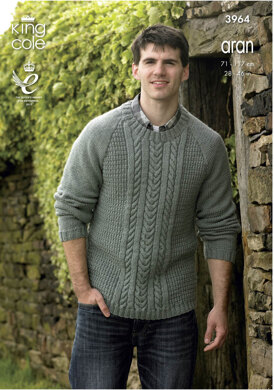Cabled Sweater and Hoodie in King Cole Fashion Aran - 3964