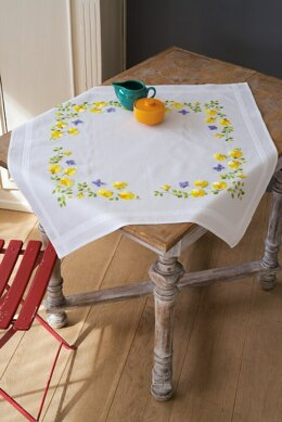 Vervaco Spring Flowers Tablecloth Embroidery Kit - 80 x 80cm
