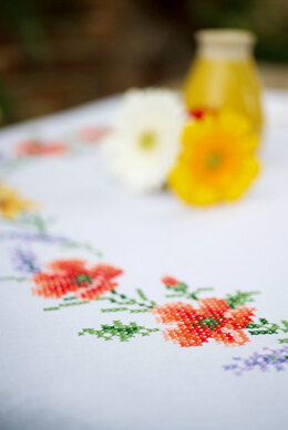 Vervaco Flowers & Lavender Tablecloth Kit (80 x 80 cm)