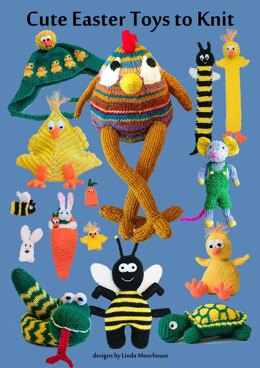 Cute Easter Toys to Knit - chick bee tortoise snake rabbit mouse