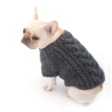 Cabled Dog Cardigan in Lion Brand Wool Ease Thick & Quick Prints - L40178