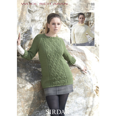Round Neck & Polo Neck Sweaters in Sirdar Wool Rich Aran - 7188
