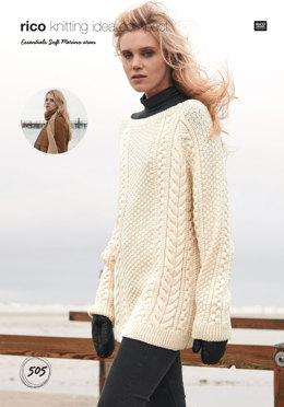 Sweater and Scarf in Rico Essentials Soft Merino Aran - 505 - Downloadable PDF