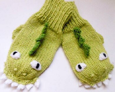 Dinosaur Dragon Mittens knit