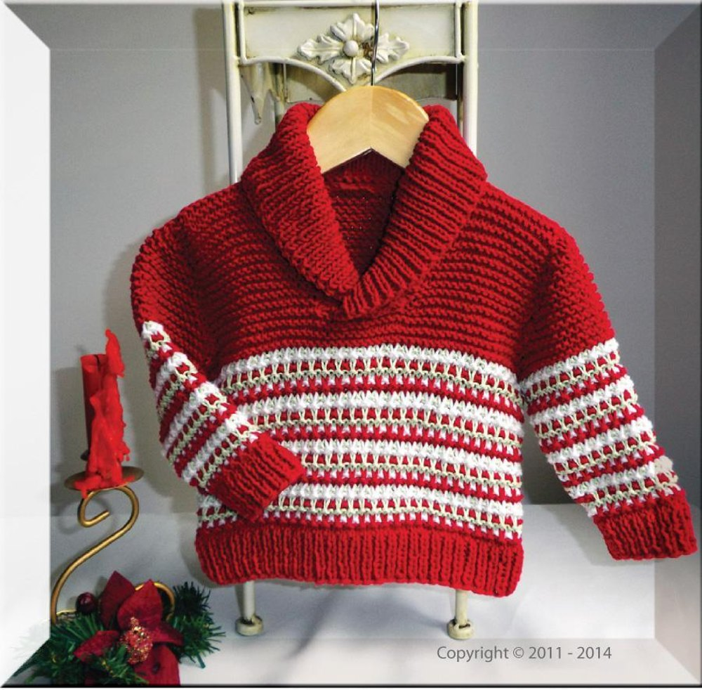 Knitting Patterns For Christmas Sweaters : Christmas Colourwork Sweater with Shawl Collar Knitting pattern by OGE Knitwe...