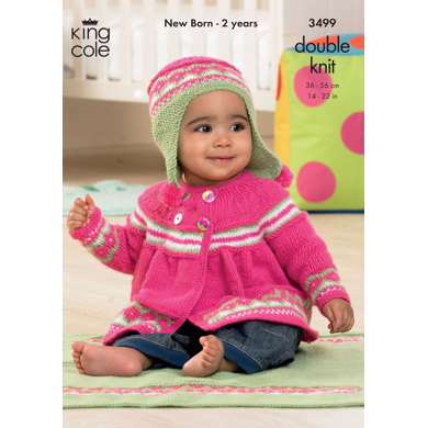 Jacket, Angel Top, Hat and Blanket in King Cole DK - 3499