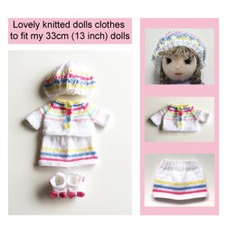 Dolls clothes knitting pattern 19034
