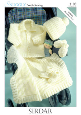 Jacket, Hat, Mittens, Bootees and Blanket in Sirdar Snuggly DK - 3108