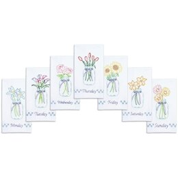 Jack Dempsey Stamped Decorative Hand Towels 7Pkg - Mason Jar Bouquets - 17in x 28in