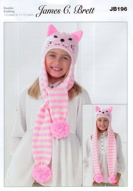 Children's Helmet and Scarf Hat in James C. Brett Top Value DK - JB196