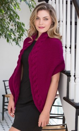 Reversible Cable Wrap in Red Heart With Love Solids - LW4267