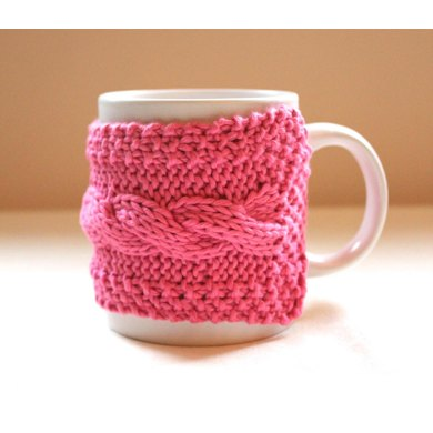 0035 - Knitted Cabled Cup Cozy