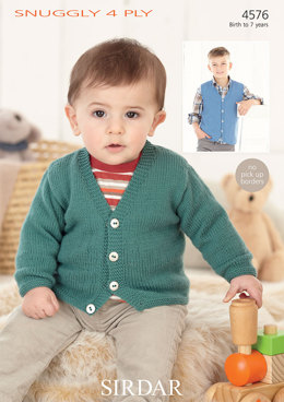 Cardigan and Waistcoat in Sirdar Snuggly 4 ply - 4576