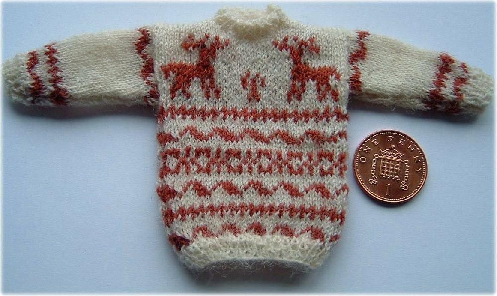 1:12th scale Reindeer sweater Knitting pattern by Frances Powell Knitting P...