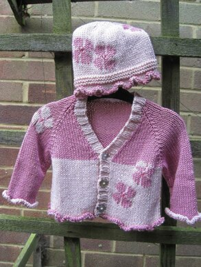 Flower Baby's Cardigan and Hat