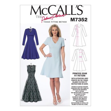 McCall's Misses' Jewel or V-Neck Fit and Flare Dresses M7352 - Paper Pattern Size 18-20-22