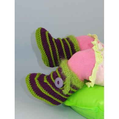 Baby Fur Trim Stripe Booties (Bootees)
