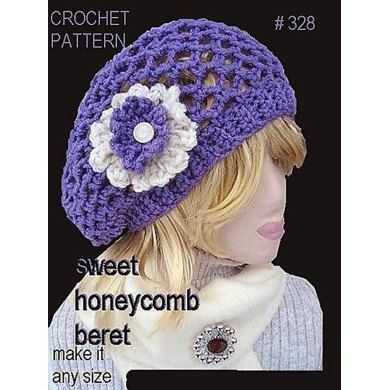 328 Honeycomb Beret Crochet Pattern By Emi Harrington