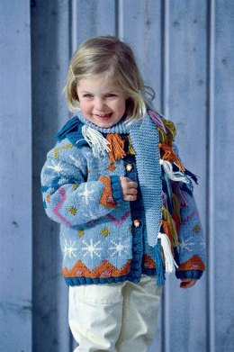 Child's Fair Isle Cardigan with Scarf in Schachenmayr Merino Extrafine 120 - 5998 - Downloadable PDF