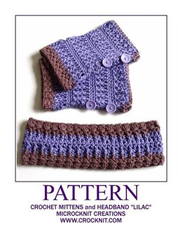 LILAC Mittens AND Headband