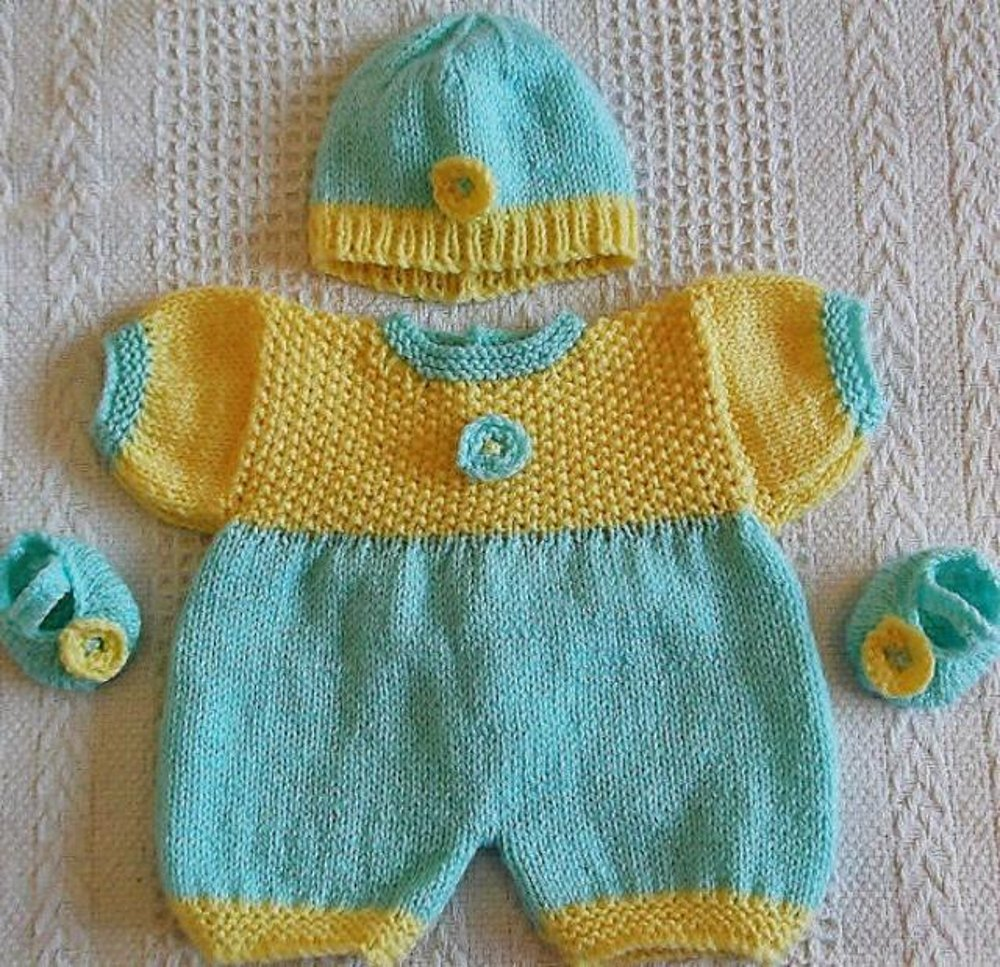 Springtime Romper Set For Doll Or Tiny Baby Knitting