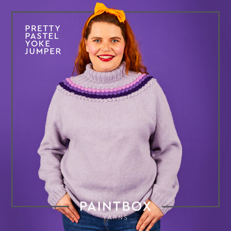 Bobble Yoke Jumper - Free Jumper Knitting Pattern For Women in Paintbox Yarns 100% Wool Worsted by Paintbox Yarns