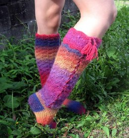 Rainbows and Laces, crochet socks