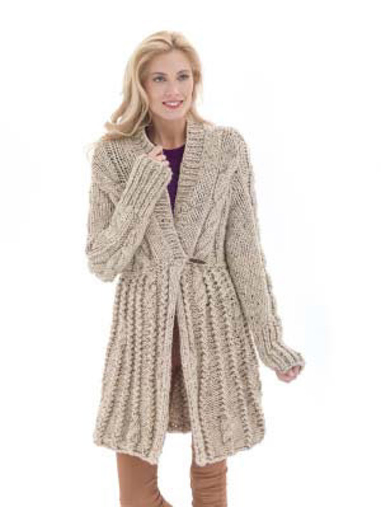 Galway Elongated Cardigan In Lion Brand Wool Ease Thick