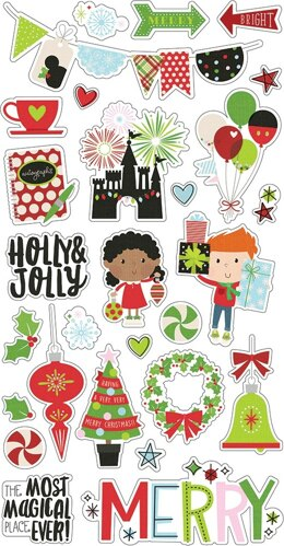 """Simple Stories Say Cheese Christmas Chipboard Stickers 6""""X12"""" - 600427"""