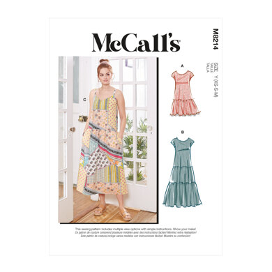 McCall's Misses' Dresses & Mask M8214 - Sewing Pattern