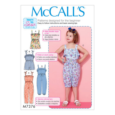 McCall's Children's/Girls' Blouson-Bodice Rompers and Jumpsuits M7376 - Sewing Pattern
